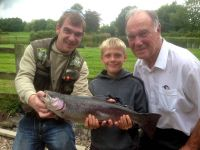 Nathan Pattison from Crook with Uncle Jonny Croker, (left), and Grandad Michael, (right) and  5lb 12oz rainbow