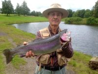 G Courtman from Startforth. 6lb rainbow caught on an white zonker