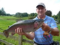 Paul Allan, Gainford. 9lb 9oz on his own tying - an orange blob with a pink tail